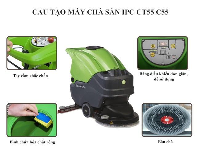 Cấu tạo máy chà sàn liên hợp IPC CT55 C55