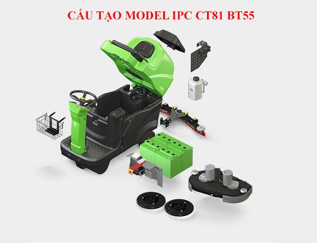 Cấu tạo máy chà sàn ngồi lái IPC CT81 BT55