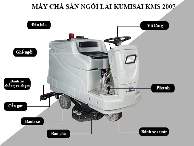 Cấu tạo model chà sàn ngồi lái Kumisai KMS-2007