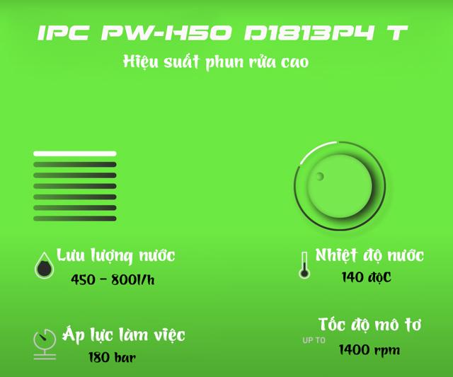 Máy bơm rửa xe nước nóng IPC PW-H50 D1813P4 T (3 bánh)
