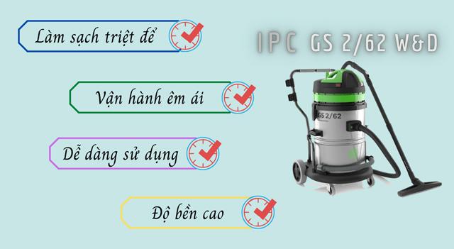 Máy hút bụi công nghiệp IPC GS 2/62 W&D có đặc điểm gì nổi bật?
