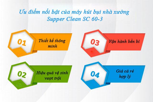 Ưu điểm nổi bật của máy hút bụi nhà xưởng Supper Clean SC 60-3