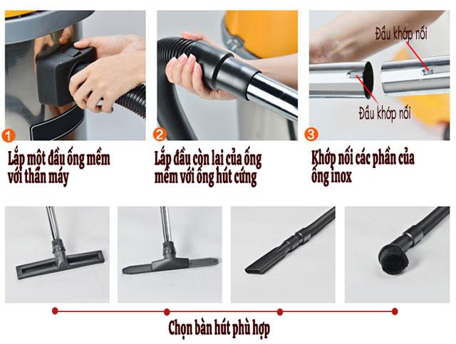 Khớp nối các bộ phận và chọn bàn hút phù hợp với yêu cầu vệ sinh