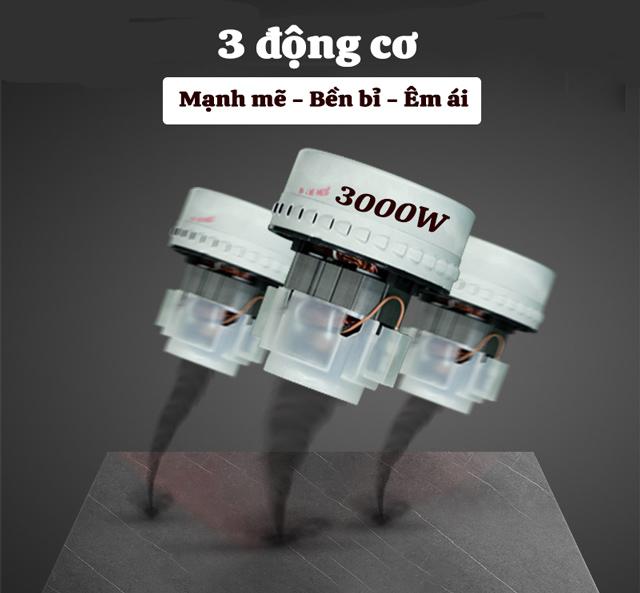 3 động cơ tổng công suất 3000W mạnh mẽ