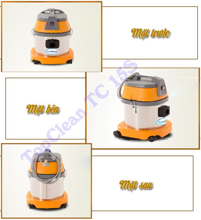 Các mặt của model máy hút bụi công nghiệp loại nhỏ TopClean TC 15S