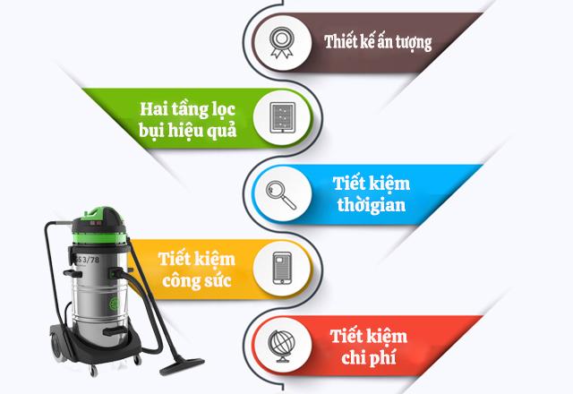 Đặc điểm nổi bật của máy hút bụi khô ướt IPC GS3/78 W&D DFS (2 tầng lọc bụi)