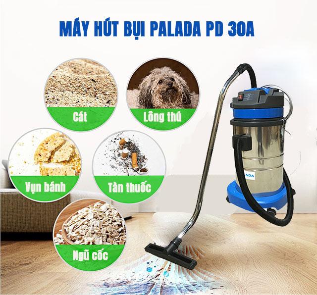 Khả năng vệ sinh nhiều loại bụi bẩn của máy hút bụi Palada PD 30A