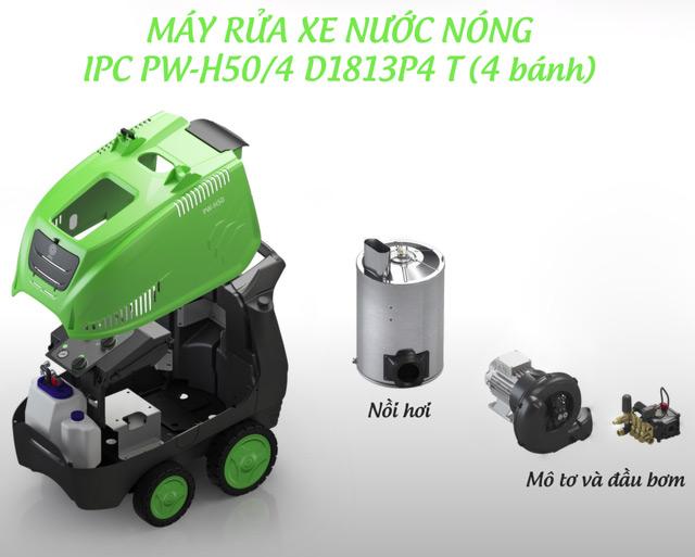 Máy phun rửa xe nước nóng IPC PW-H50/4 D1813P4 T (4 bánh)