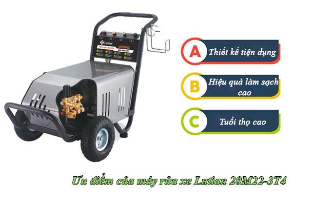 Ưu điểm của máy bơm xịt rửa xe công nghiệp Lutian 20M22-3T4