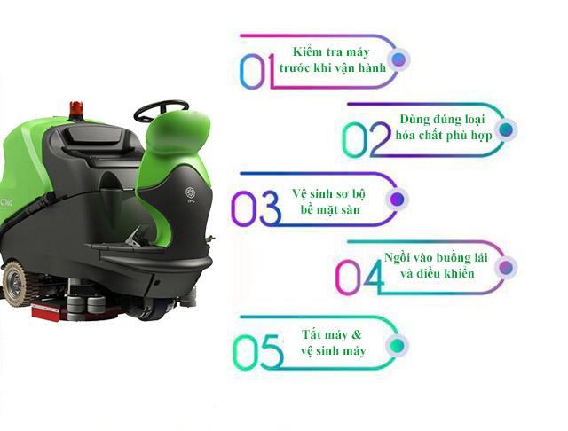 Hướng dẫn sử dụng máy chà sàn ngồi lái