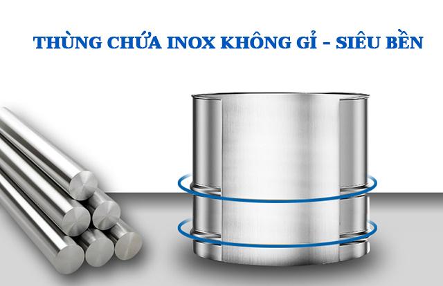Máy có độ bền cao với thùng chứa bằng inox bền bỉ
