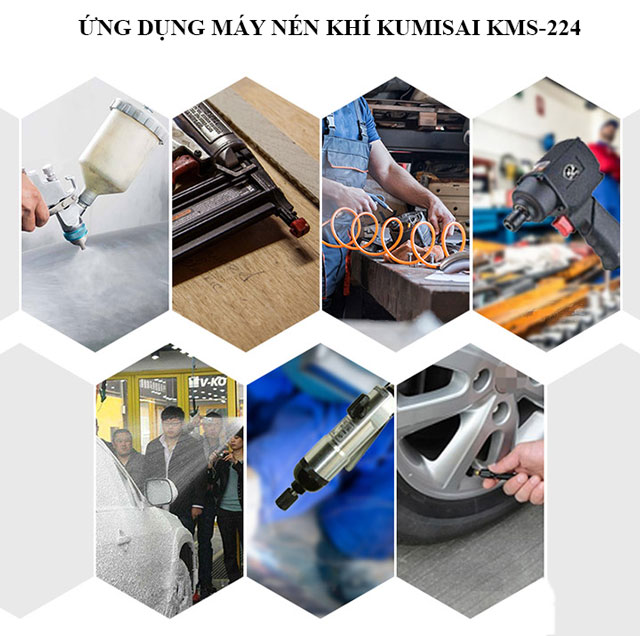 Ứng dụng máy nén hơi mini Kumisai KMS-224