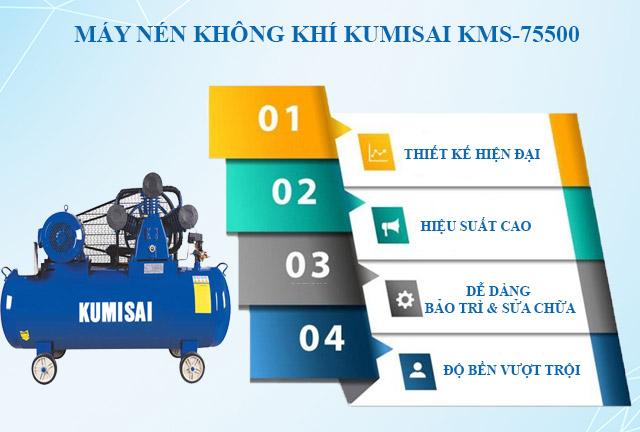 Máy nén hơi Kumisai KMS-75500 - Thiết kế tiện lợi, vận hành bền bỉ