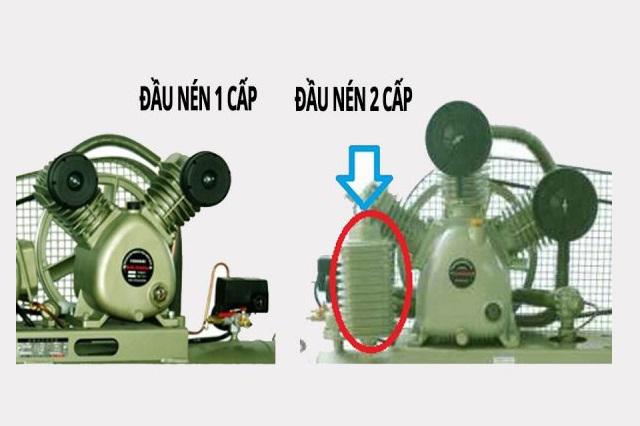Máy nén hơi 3 pha 1 cấp và 2 cấp khác nhau ở bộ phận tản nhiệt