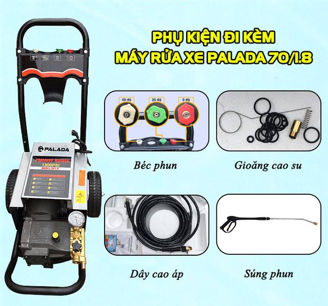 Các phụ kiện đi kèm tăng khả năng phun rửa của Palada PD 70/1.8