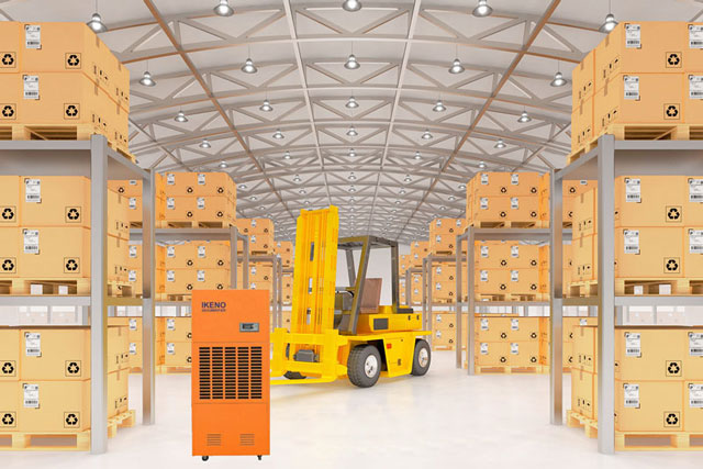 Thiết bị máy hút ẩm công nghiệp IKENO được sử dụng trong các nhà máy, xí nghiệp