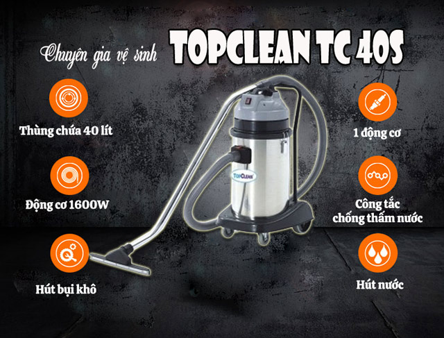 Model máy hút bụi, hút nước TopClean TC 40S
